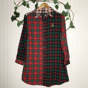Lauren Ralph Lauren Plaid Flannel Sleep Shirt M